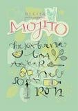 Recette d'Espagnol de cocktail de Mojito illustration stock