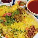 Recette de riz de boeuf de Kapsa images stock