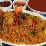 Recette de riz de poulet de Kapsa photo stock