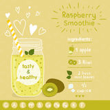 Recette de smoothie de kiwi Photos stock