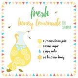 Recette fraîche de limonade de miel pour l'été Images stock