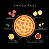 Recette hawaïenne de pizza illustration de vecteur