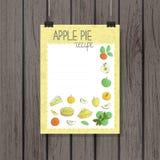 Recette ou bannière de tarte aux pommes dans le style de griffonnage illustration de vecteur