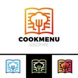 Recette ou livre Logo Template Design de cuisson Menu avec l'icône de fourchette Images libres de droits
