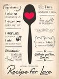 Recette pour l'invitation créative de mariage d'amour Photo stock