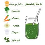 Recette verte de smoothie Avec l'illustration des ingrédients Images stock