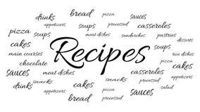 Recettes pour différents plats illustration stock