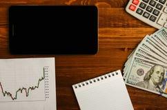 Recettes provenant du commerce sur la bourse des valeurs  Image stock
