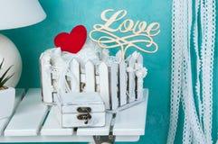 Receveur blanc de rêve de dentelle de coeur Photographie stock libre de droits