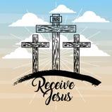 Recevez le catholicisme croisé de lumière de ciel de Jésus trois illustration de vecteur