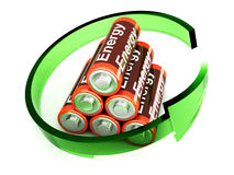 Rechargable Batteries. 3D rendered Illustration. Symbol for a rechargable AA Battery Stock Photography