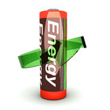 Rechargable Battery. 3D rendered Illustration. Isolated on white. An AA Battery royalty free illustration