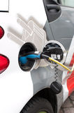 Recharge electric car with electricity Stock Image