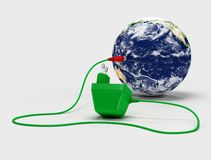 Recharge the world. Virtual image of a charger connected to the globe - 3d rendering Royalty Free Stock Images