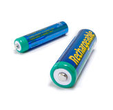 Rechargeable AA and AAA Batteries. Rechargeable NiMH AA and AAA Batteries isolated on white background Stock Photo