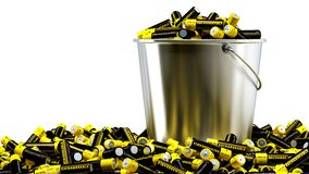 Rechargeable AA Batteries in a bucket Royalty Free Stock Photography