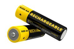 Rechargeable AA Batteries. Isolated on white - 3D Rendering Royalty Free Stock Photography