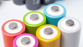 Rechargeable AA batteries Stock Photo