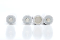 Rechargeable batteries on white background Royalty Free Stock Photography