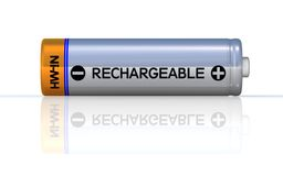 Rechargeable battery. On the ground and isolated on white. Clipping path included in JPG vector illustration