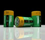 Rechargeable battery. 3d Recyclable  and  rechargeable battery - digital artwork Stock Photography