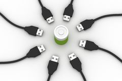 Rechargeable battery with usb cable Royalty Free Stock Images