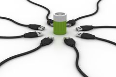Rechargeable battery with usb cable Royalty Free Stock Photos
