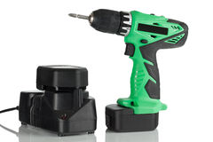 Rechargeable and cordless drill. On a white background Royalty Free Stock Photography