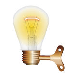 Rechargeable lamp. Renewable energy concept bulb with rechargeable Stock Photo