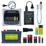 Rechargeable lithium battery and different accumulators isolate on white. Vector illustrations in cartoon style Royalty Free Stock Photos