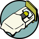 Recharging battery by sleeping vector illustration Royalty Free Stock Photography