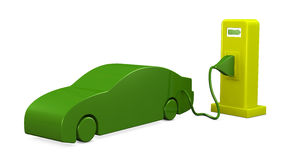 Recharging car. An electric car that recharges (3d render Stock Illustration