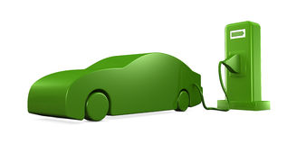 Recharging a car. Concept of recharging an electric car (3d render Royalty Free Stock Photos