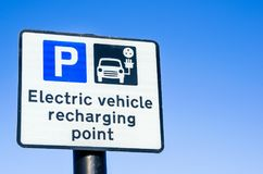 EV Recharging Point Sign and Blue Sky. Recharging Point for Electric Vehicles Sign and Clear Blue Sky Royalty Free Stock Photography
