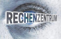 Rechenzentrum dans l'oeil allemand de centre de traitement des données avec la matrice regarde v photos stock
