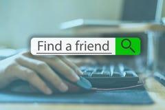 Recherchant l'étiquette sur l'image de concept avec le mot pour trouver un ami v photo libre de droits
