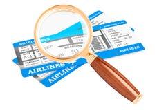 Recherchant le concept de billets d'avion, rendu 3D illustration libre de droits