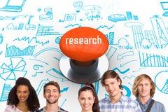 Recherche contre le bouton poussoir orange Images libres de droits