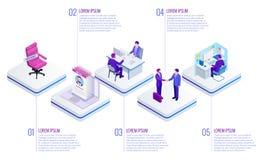 Recherche d'emploi en ligne isométrique et concept de ressource humaine Infographics de la visualisation de données commerciales  illustration libre de droits