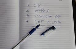 Recherche d'emploi - pour faire la liste Photographie stock