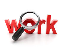 Recherche d'un emploi. Grands travail et loupe rouges de mot sur un backgroun blanc Photos libres de droits