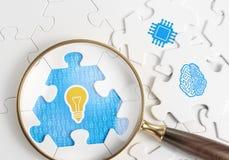 Recherche d'une idée par l'intelligence informatique Photo stock
