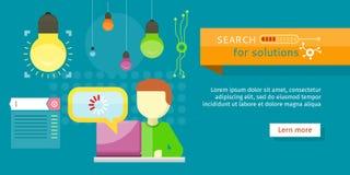 Recherche de bannière de solutions Person Working Vector Illustration Stock