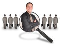 Recherche de candidat d'homme des employés du travail Photos libres de droits