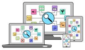 Recherche de concept d'apps sur différents dispositifs illustration stock