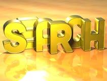 recherche de 3D Word sur le fond jaune Image stock