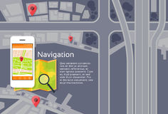 Recherche de navigation de carte de ville d'application de téléphone Photo stock