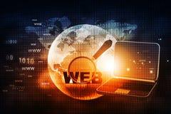 Recherche de Web avec l'ordinateur portable Photos stock