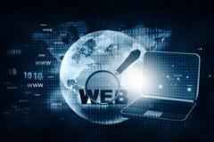 Recherche de Web avec l'ordinateur portable Image libre de droits