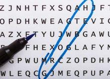 Recherche de Word, puzzle Concept au sujet de la conclusion, croissance, succès photographie stock libre de droits